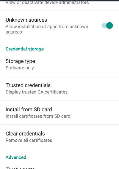 Install Certificate from SD Card