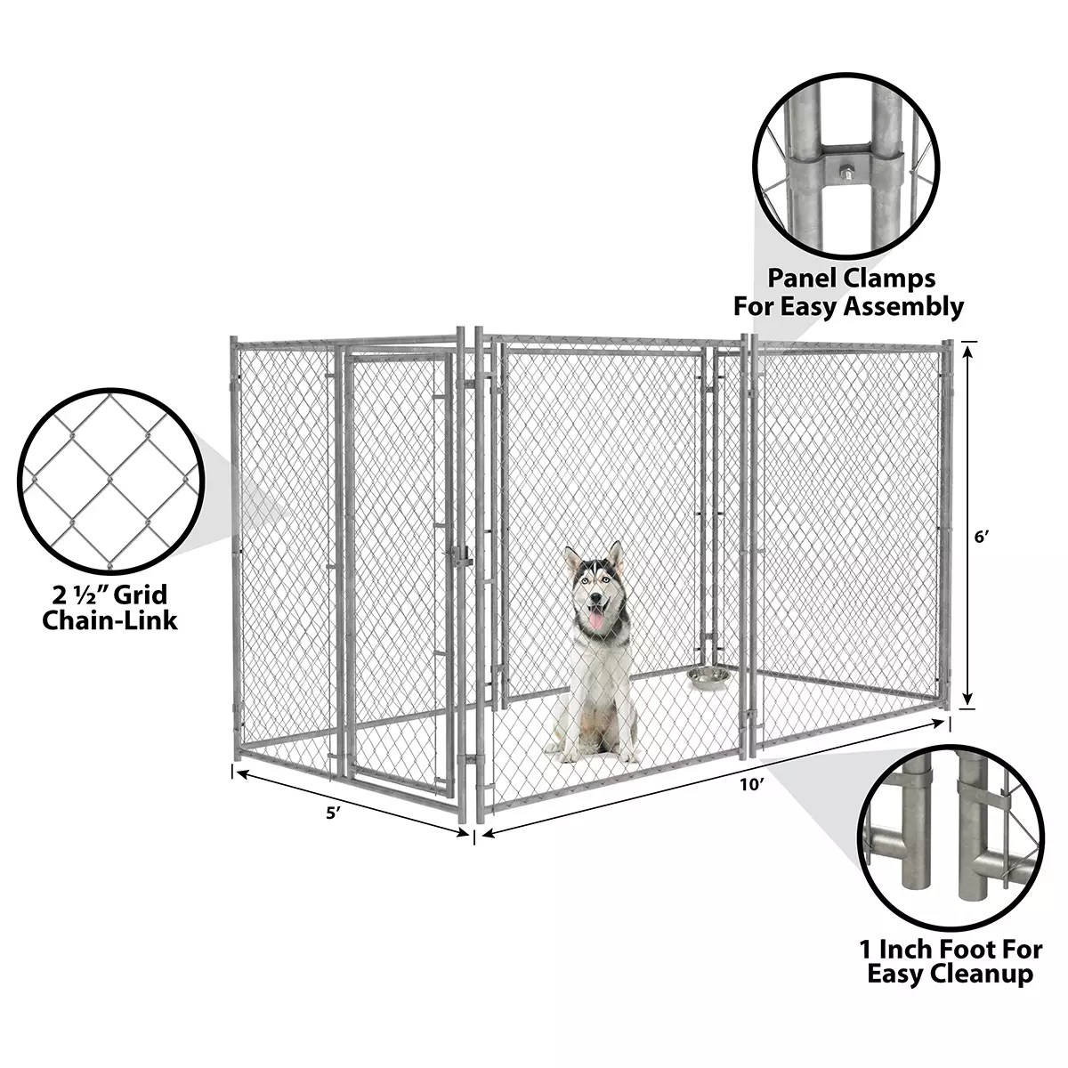 6ft H X 5ft W Chain Link Kennel Panel