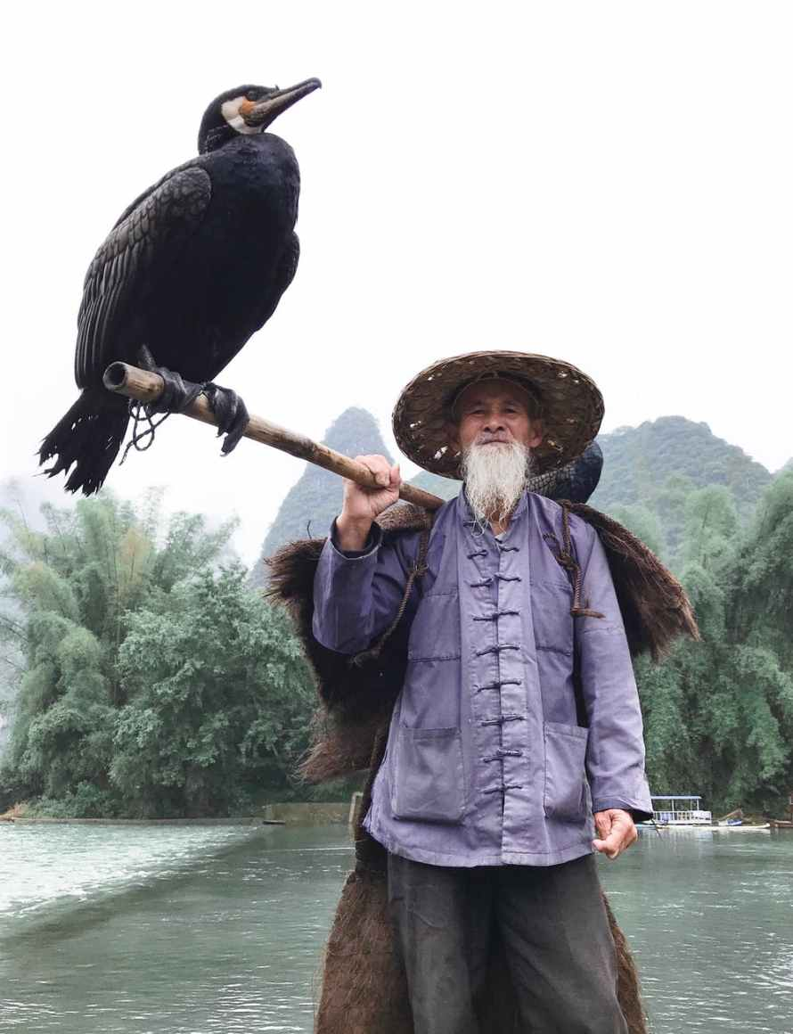 man holding a stick with perched bird