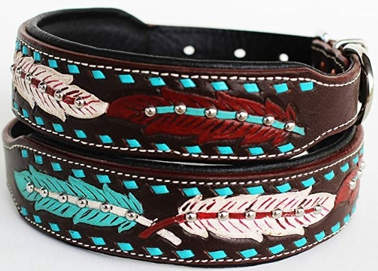 CHALLENGER Dog Collar, Brown, Turquoise, Red and White