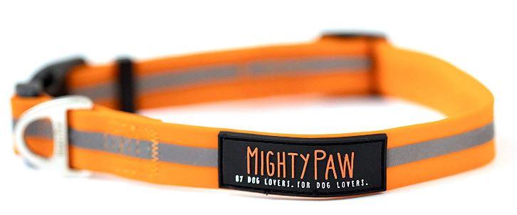Mighty Paw Waterproof Dog Collar with Reflective Stripe
