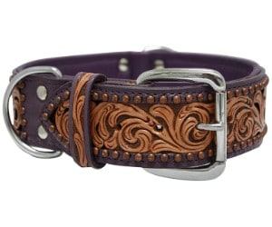 Genuine Leather San Antonio Dog Collar by Angel Pet Supplies Inc