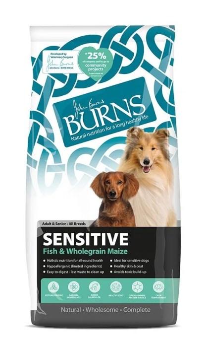 burns sensitive dog food