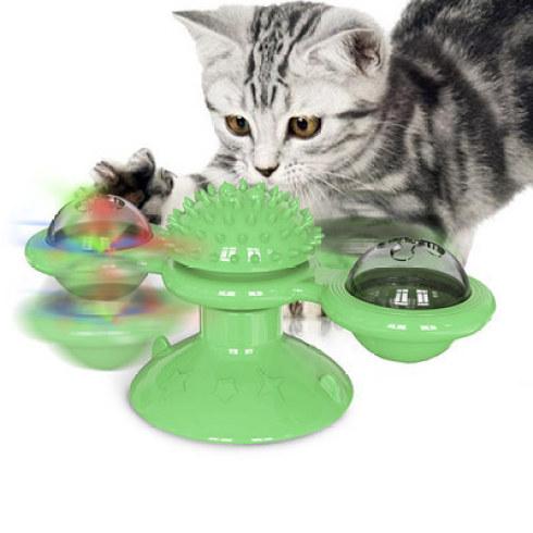 jouet tournant pour chat vert