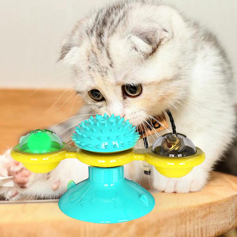 jouet tournant pour chat bleu