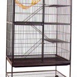 Extra-Large-4-Level-With-Large-Double-Front-Doors-For-Feisty-Ferret-Chinchilla-Rat-Small-Animal-Wrought-Iron-Cage-With-Stand-12-Bar-Spacing-Black-Vein-0