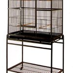 Mcage-Large-Wrought-Iron-Flight-Canary-Parakeet-Cockatiel-Lovebird-Finch-Sugar-Glider-Cage-With-Removable-Stand-Bird-Cage-32-Inch-by-19-Inch-by-64-Inch-0