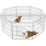 ALEKO-SDK-24B-Heavy-Duty-Pet-Playpen-Dog-Kennel-Pen-Exercise-Cage-Fence-8-Panel-24-x-24-Inches-Black-0