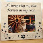 BANBERRY-DESIGNS-Pet-Memorial-Frame-and-Ornament-No-Longer-by-My-Side-4-X-6-Ceramic-Plaque-with-Matching-Round-Circle-Ornament-Pet-Remembrance-0-1