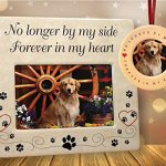 BANBERRY-DESIGNS-Pet-Memorial-Frame-and-Ornament-No-Longer-by-My-Side-4-X-6-Ceramic-Plaque-with-Matching-Round-Circle-Ornament-Pet-Remembrance-0