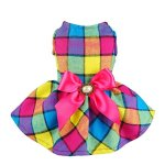 Fitwarm-Vintage-Plaid-Pet-Clothes-Dog-Dress-Ribbon-Dog-Vest-Shirts-Apparel-0