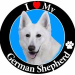 I-Love-My-German-Shepherd-White-Car-Magnet-With-Realistic-Looking-German-Shepherd-Photograph-In-The-Center-Covered-In-UV-Gloss-For-Weather-and-Fading-Protection-Circle-Shaped-Magnet-Measures-525-Inche-0