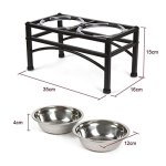 DAZONE-Raised-Dog-Bowls-Elevated-Cat-Feeder-with-Two-Stainless-Steel-Bowls-Perfect-for-Water-Food-or-Treats-0