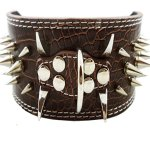 Dogs-Kingdom-Faux-Croc-Leather-Spiked-Dog-Collar-3-Wide-40-Large-Spikes-Pet-Supplies-0