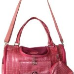 Faux-Crocodile-Travel-Bag-wMatching-Coin-Purse-Tote-Carrier-Pink-by-mpet-0-1