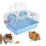 Yueunishi-Hamster-Cage-Durable-Hamster-Matchmaking-Cage-High-toughness-PP-Plastic-Pet-Cage-with-2-Storey-Hamster-Cage-Mouse-House-with-Slide-Disk-Spinning-Bottle-0