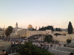 The Western Wall with the iconic temple mount and the beautiful golden Dome of the Rock
