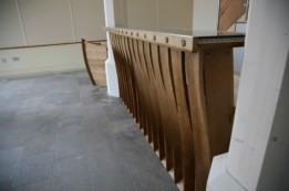 Bridport Town Hall Reception Desks. One is the Twist Desk with rope detailing and the other is based on a cod-fishing Dory. These can be seen in the Bridport tourist information centre.