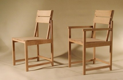 Bauhaus chair and carver with washed finish.