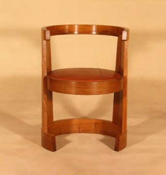 Ring Chair in oak with oak bark tanned leather padded seat, oiled finish.