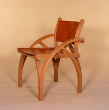 Treble Zero Chair in oak with oak bark tanned-leather seat and back. Steam bent components.