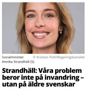 Socialminister Annika Strandhäll (S) i Aftonbladet april 2018.