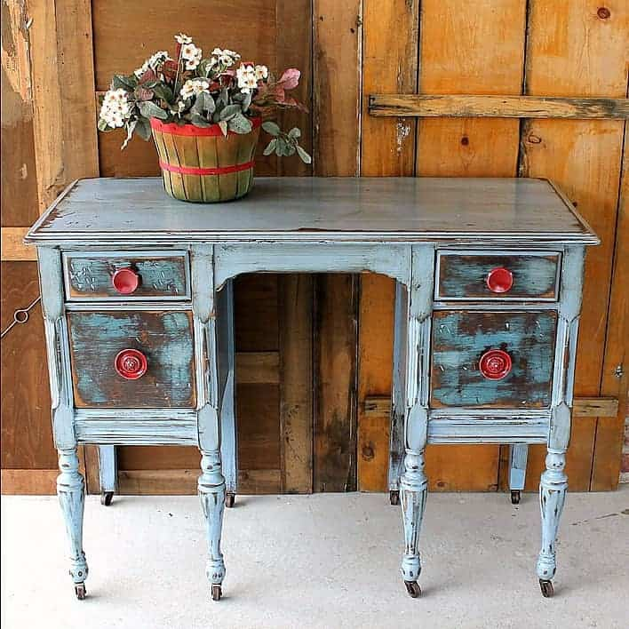 Distressed Furniture With Red Knobs