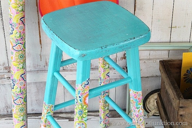 decoupage papered stool legs Petticoat Junktion project