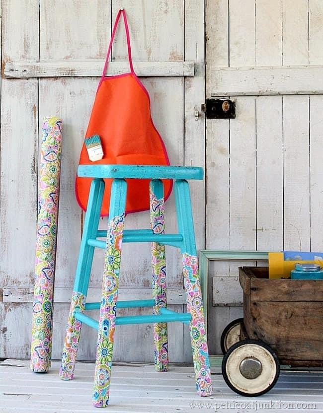 decoupage stool legs Petticoat Junktion