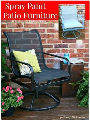 The Easy Way To Paint Metal Patio Furniture   Petticoat Junktion Spray Paint Metal Patio Furniture Petticoat Junktion before and after  makeover project