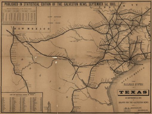 1883 Texas Railroad Map