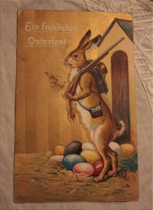 Easter vintage- bunny with gun