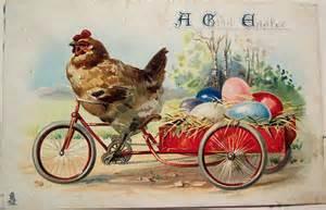 Easter vintage chickon on bike