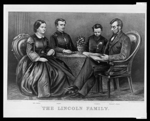 Abraham Lincoln with Mary Todd Lincoln and sons Robert and Tad (Curier & Ives lithograph, 1866)