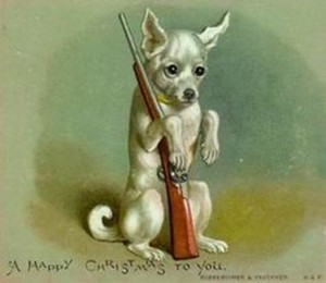 Vintage Christmas--Dog with gun