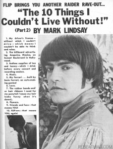 Tiger Beat Mark Lindsay Can't Live without these