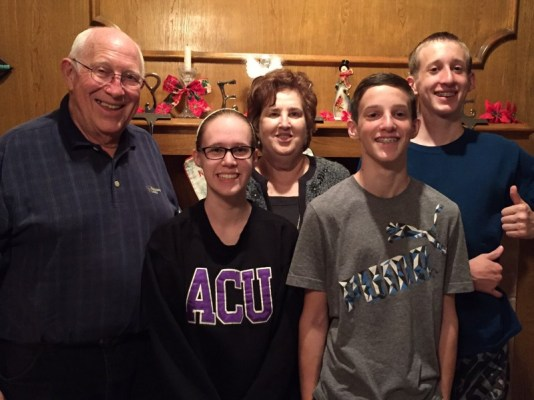 My kids with the in-laws from next door. Bethany is in the ACU sweatshirt. Go Wildcats!