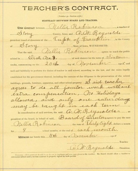 1905 teaching contract