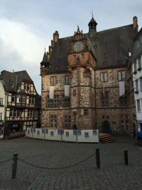 This is part of the old town square in Marburg. Don't you love the architecture? We had dinner next to the clock tower and got to watch it come alive when we were finishing our meal. So perfect!