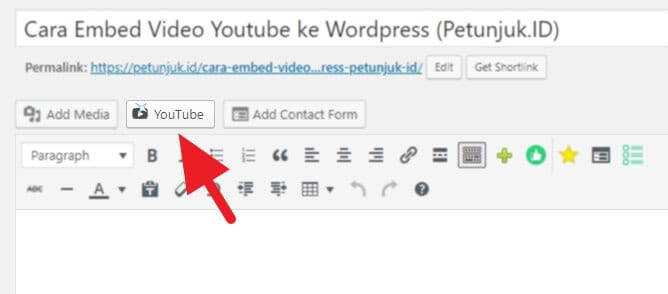 Cara Embed Video Youtube WordPress