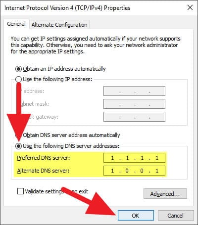 Ganti DNS Windows 1.1.1.1