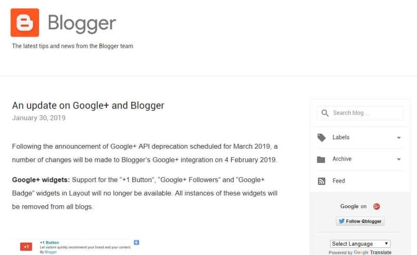 Blog utama Blogger