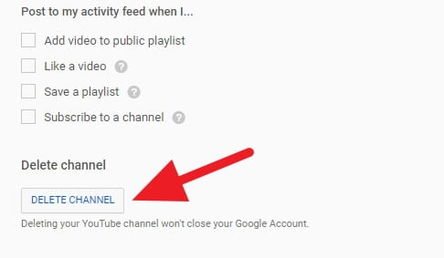 Delete Channel Youtube