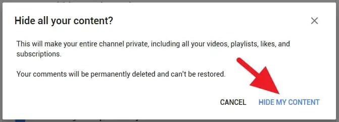 Menyembunyikan channel Youtube