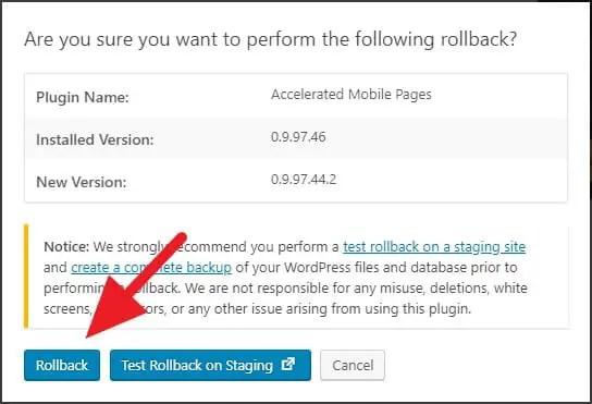 Memulai rollback plugin