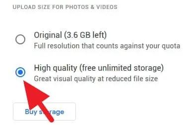 Kualitas foto Google Photos