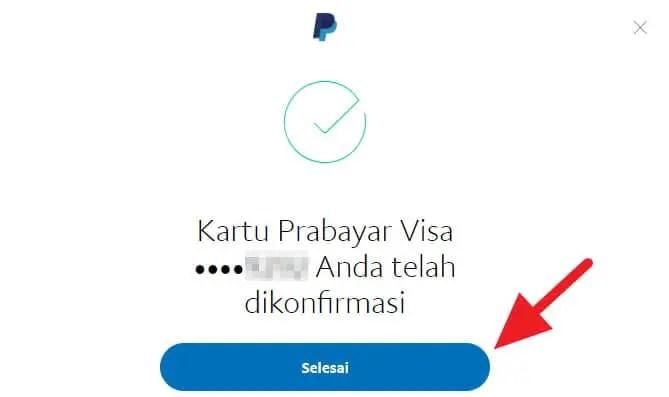 Kartu telah terhubung ke Paypal