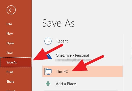 Save As PowerPoint