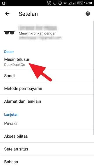 Cara Jadikan Google Sebagai Search Engine Default di Chrome Android 3
