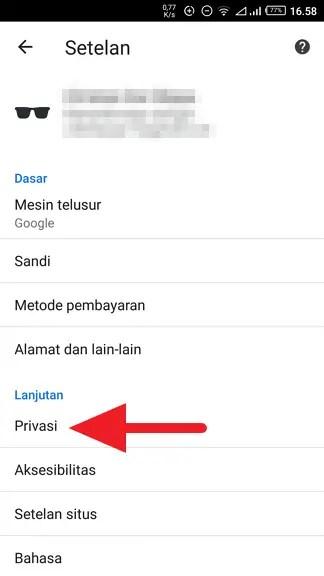 Membersihkan Saran Pencarian di Chrome (PC & ANDROID) - Mematikan Saran Penelusuran Chrome Android 2